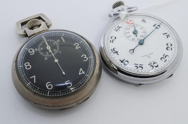 2 Antique Swiss Gallet And Elgin Star Case Company Wind Up Stopwatches