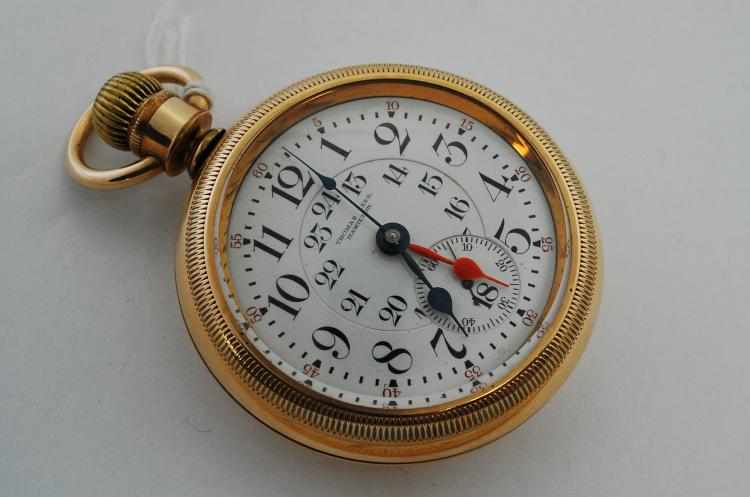 1911 Thomas Lee Hamilton Railroad 24 Hour 4 Hand 23 Jewel Elgin Gold Filled Case Pocket Watch