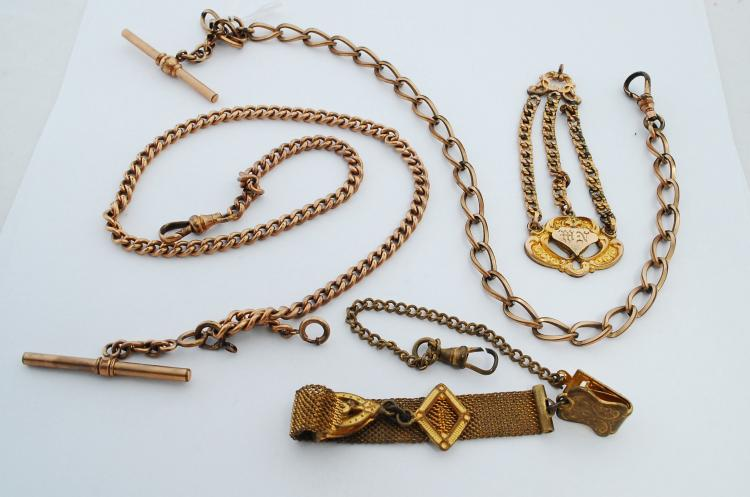 Lot Of 4 Antique Gold Filled Pocket Watch Chains And Fobs
