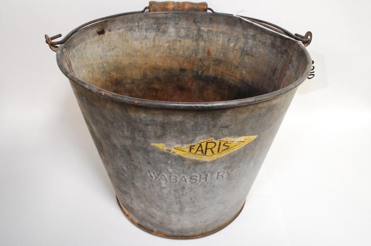 Antique Galvanized Faris Wood-Handled Wabash Ry Railroad Bucket