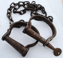 Antique? Iron Handcuffs Or Leg Shackles With Iron Screw Key