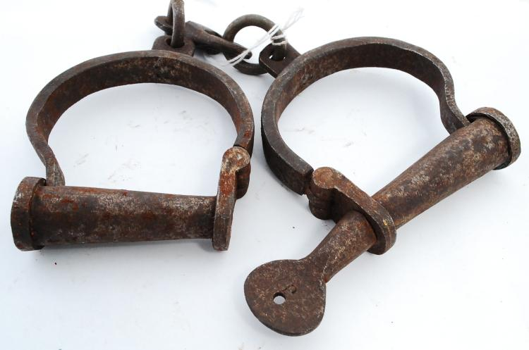 Antique? Iron Handcuffs Or Shackles With Iron Screw Key