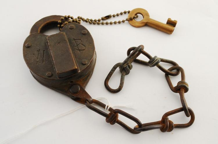 Antique Solid Brass Wilson Bohannan Co WB Railroad Or Ranch Heart Padlock