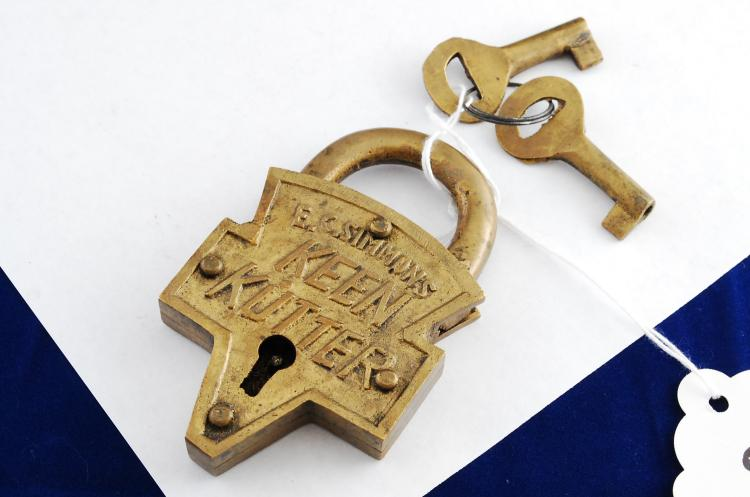Antique Keen Kutter Solid Brass Padlock With Keys