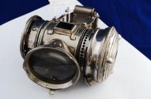 Antique Bridgeport Brass Co Searchlight Bicycle Oil Lamp Lantern