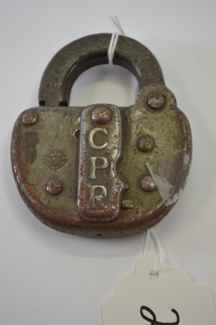 Antique Mitchell Cpr Railroad Lock With No Key Canadian Pacific Railroad