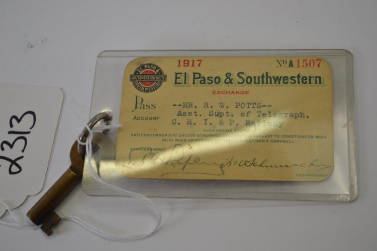1917 El Paso And Southwestern Railroad Pass With Padlock Key