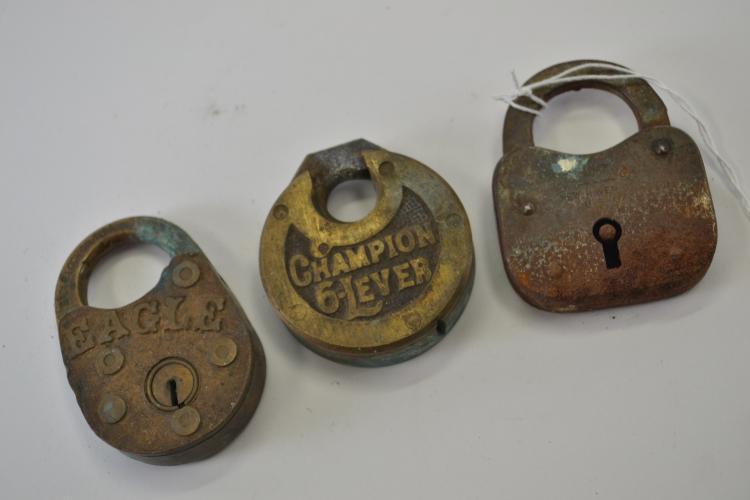 Lot Of 3 Vintage Brass Padlocks With No Keys