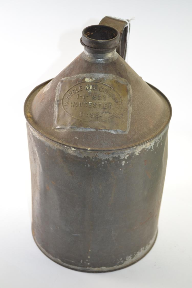 Antique Marble Nye Company 1921 Worchester Mass Kerosene Can Fuel Container