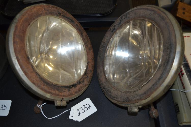 Antique Liberty Lense Macbeth Evans Glass Company Early Automobile Electric Headlamps