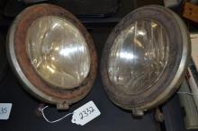Antique Liberty Lense Macbeth Evans Glass Company Early Automobile Electric Headlamps