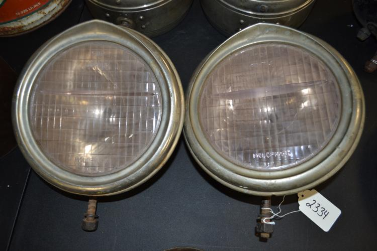 Antique Holophane Usa Pair Of Early Automobile Electric Headlamps