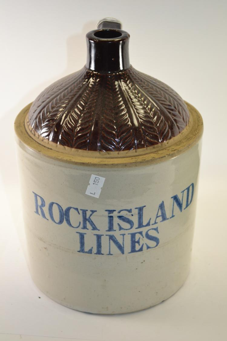 Antique Rock Island Lines Whiskey Shoulder Jug