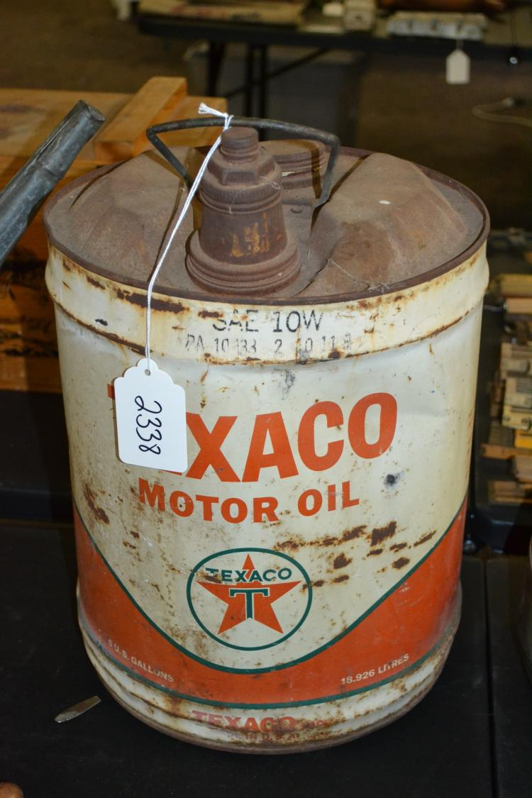 Vintage Texaco Motor Oil 5-Gallon Sae 10W Oil Container