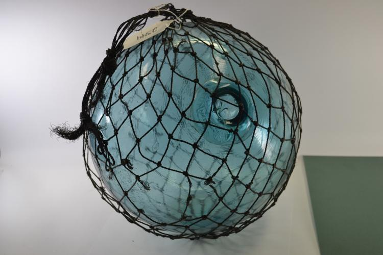 Vintage Blue Glass Japanese 11 Inch Floating Fishing Globe
