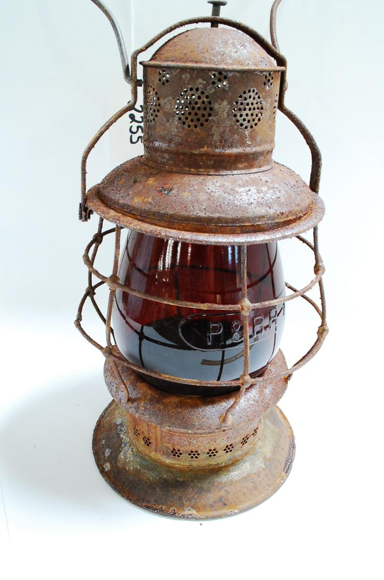Early Antique Bell Bottom Railroad Lantern With Tall Red Embossed P&Rry Globe