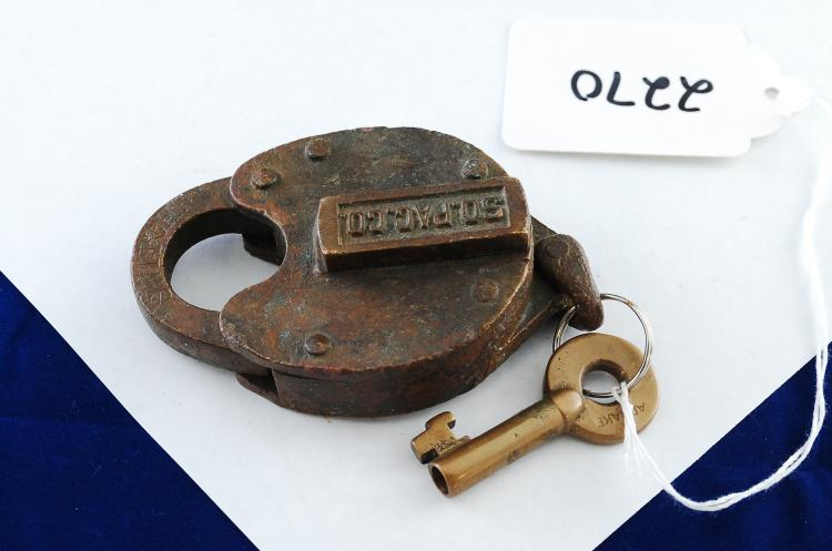Antique Solid Brass Sopacco Railroad Switch Padlock With Key