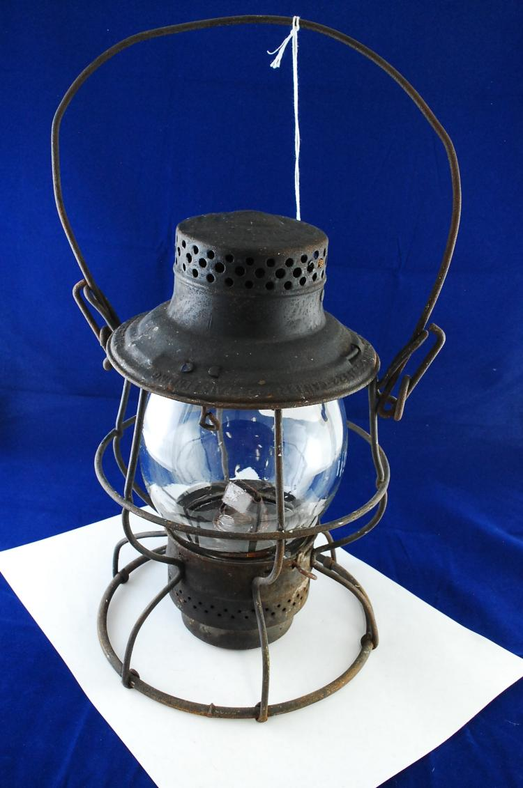 Antique Adlake Number 100 ICRR Railroad Lantern With Tall Acid Etched Matching Globe