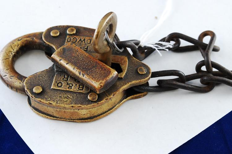 Antique FS Hardware Co B&ORR Railroad Brass Padlock With Key
