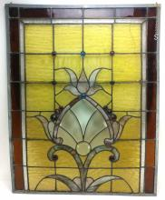 Vintage Yellow Pink Floral Stain Glass