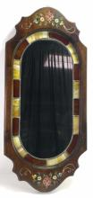 Vintage Wood & Stain Glass Framed Mirror