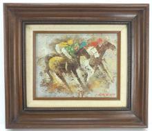 Edward Barton, Horse Racing Oil on Canvas