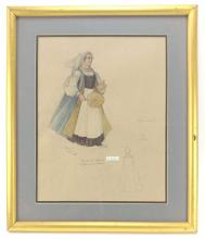 20th C. Juliet's Nurse Costume Colored Sketch