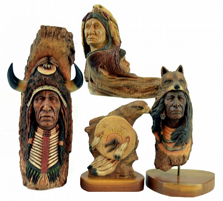 Native American Figurines / Signed Statues, Signed
