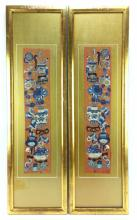 2Pc. Asian Gold Tone Needlepoint