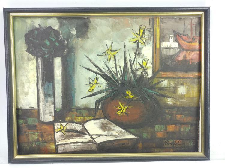 E. Nik, Book & Flower Still Life Oil on Canvas