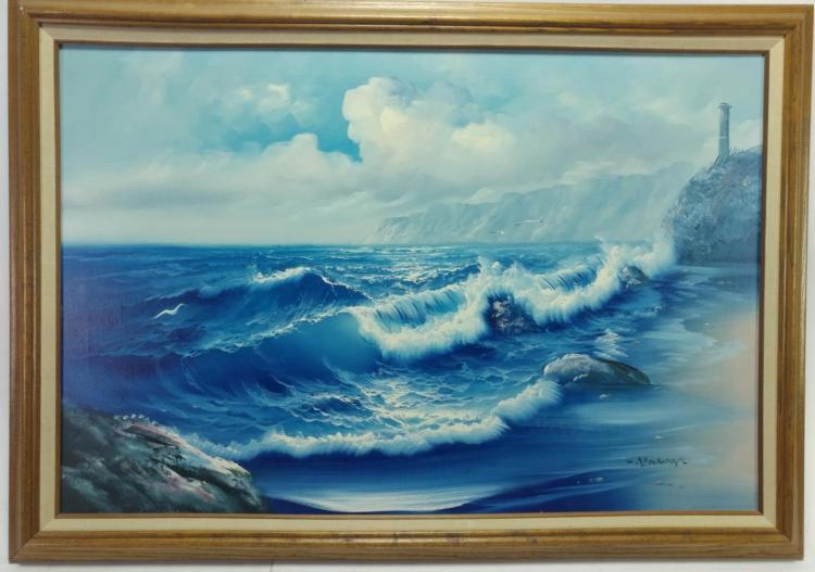 Newman, Blue Wave Shore Oil on Canvas