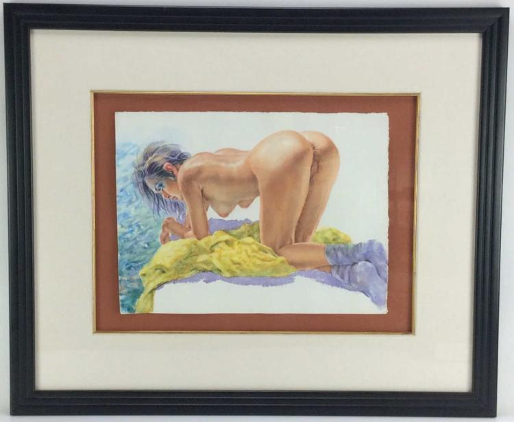 Unsigned, Nude Woman Watercolor on Paper