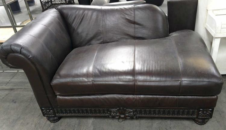 Carved wood accent leather chaise lounge for Carved chaise lounge