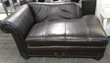 Carved Wood Accent Leather Chaise Lounge