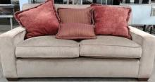 Solid Back Sofa w/ 4 Throw Pillows