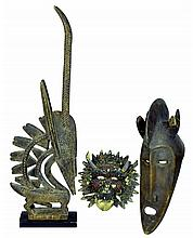 3 Pc. Masks and  Animal Sculpture