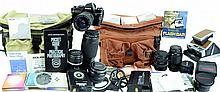 Konica Autoflex TC Camera & Lens, Polaroid SX-70