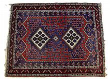 Blue and Red Oriental Rug