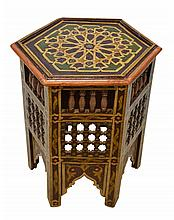 Moroccan Hand Painted Hexagonal Table