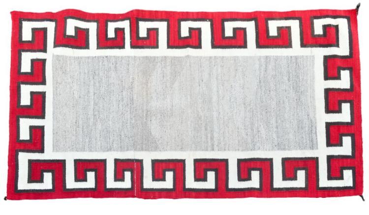 Hand Woven Navajo Wool Rug W Geometric Pattern