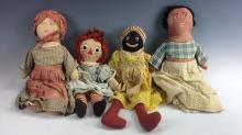 4Pc. Vintage Raggedy Anne Style Dolls