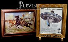 Dobbs Hats Advertising Frame & Cowgirl Print