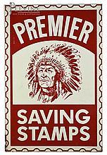 Premier Savings Stamps Enameled Tin Sign