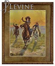Framed Western Print by Harry Payne, Cowgirl