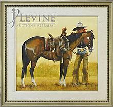 Reginald Jones Oil Painting, Cowboy's Rest