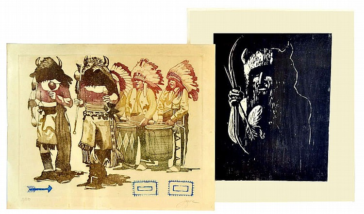 2 Wood-cut prints, Native American Indians, signed