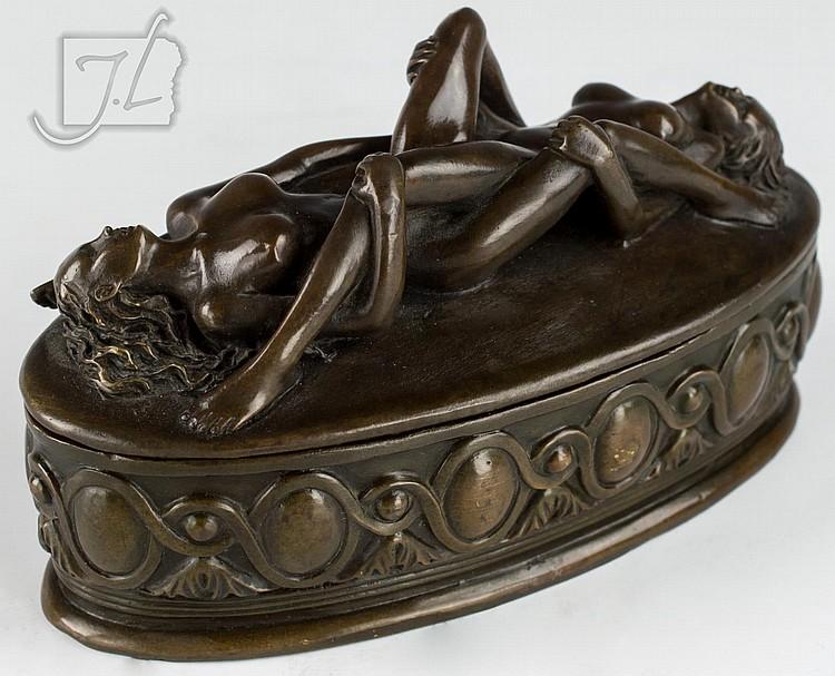 Max Milo (1938-) Nude Female Bronze Vanity Box
