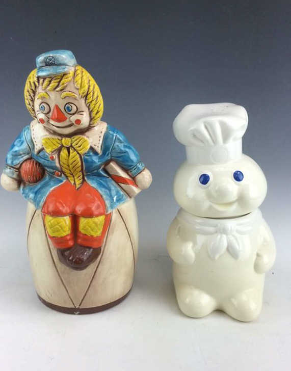 2pc Glazed Ceramic Novelty Cookie Jars