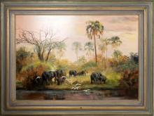 Marie Vermeulen Breedt Large Painting of Elephant