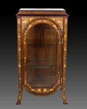 Inlay Burl Wood Curio Cabinet